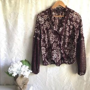 🦋 Lulumari Lace Floral Blouse Top Maroon M